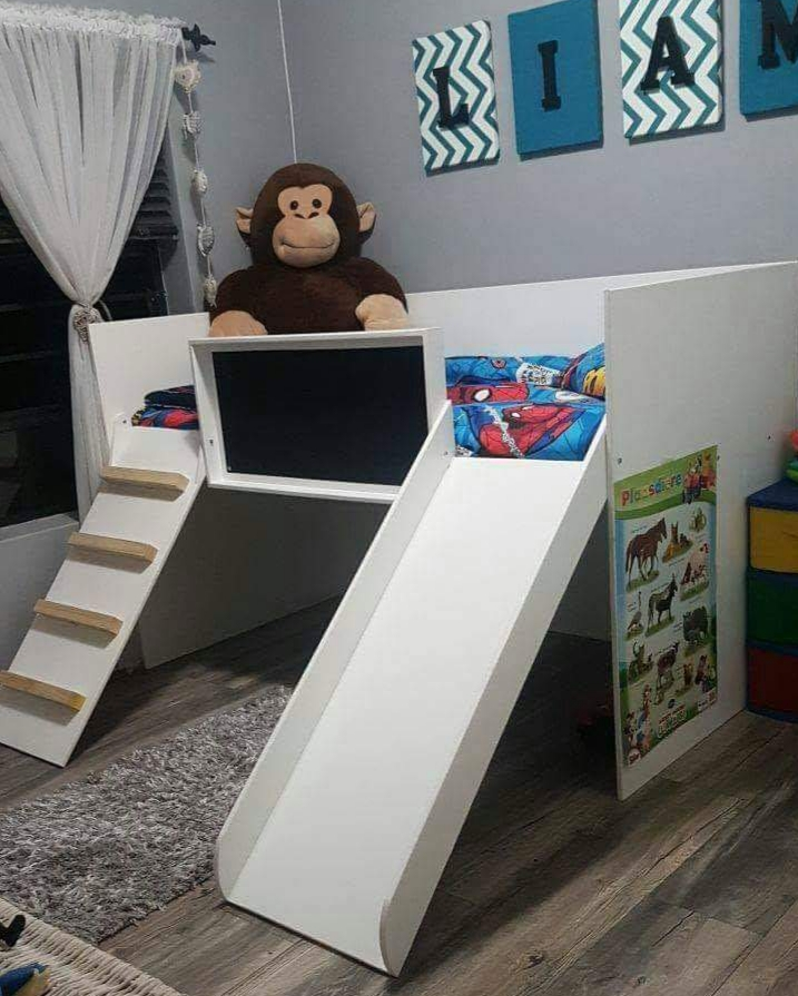 Toddler Bed with Slide and Black Chalk Board